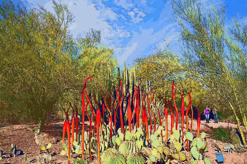Scorpion Tails by Dale Chihuly: Desert Botanical Garden January 19, 2009 Redigitized by Judy Vorfeld