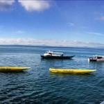 Yellow boats on the way to Great Santa Cruz Island
