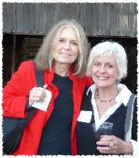 Gloria Steinem and Jan Pierson at Hedgebrook