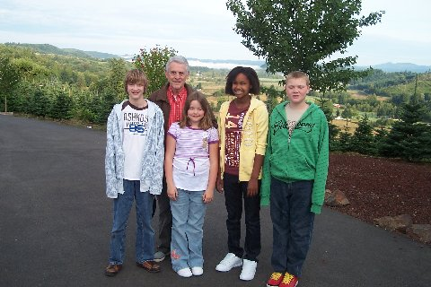 Grandpa David Crook with Jonathan, Emily, Keisha, and Donovan